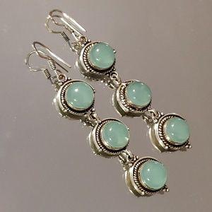Jewelry - Green Chalcedony Natural Gemstone Earrings